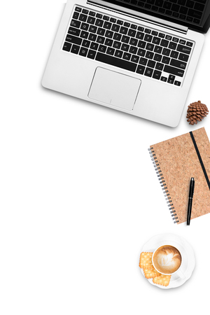 Top view work space computer notebook coffee latte flat layout white background