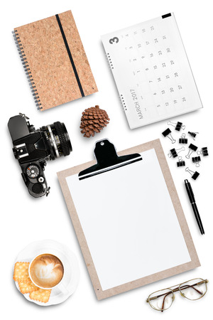 miscellaneous office stationary vintage film camera eye glass and coffee latte isolated on white background Imagens