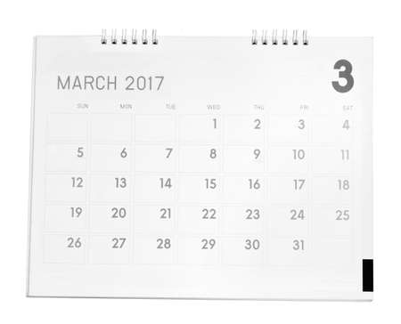 March calendar isolated on white background