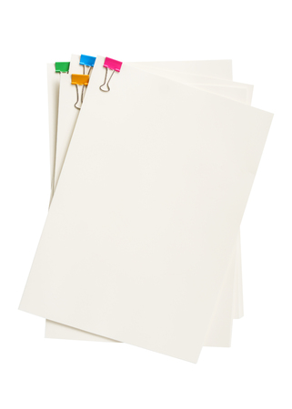 Colorful clip on blank paper document white background isolated Imagens