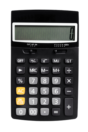 black financial calculator isolated on white background