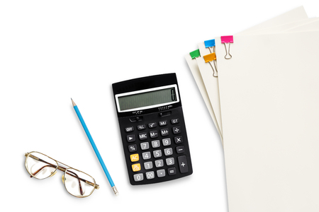 Financial accounting pencil eye glass calculator paper clip on white background