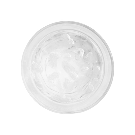 Glass of fresh water and ice cube isolated on white background top view