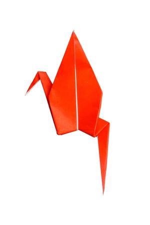 Red origami crane bird isolated on white background