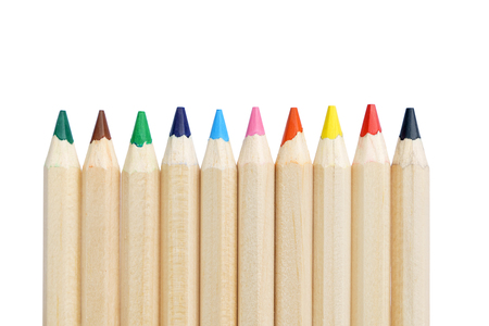 wooden color pencil arrange vertical isolated on white background Imagens