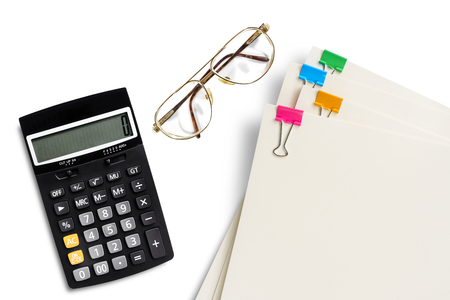 Financial accounting eye glass calculator paper clip on white background Imagens