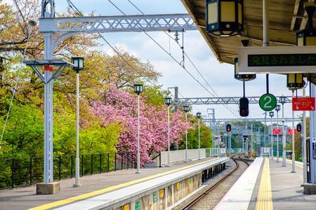 Kyoto, Japan - Apr,5 2017 : Hankyu Arashiyama Station. Editorial