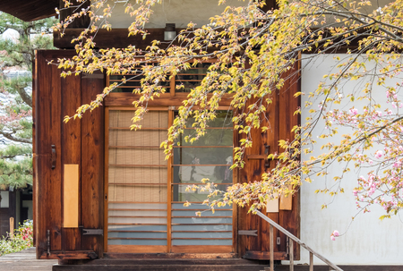 Japnanese old house behind tree branches in spring look peaceful