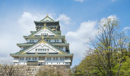 Osaka castle in spring time blue sky
