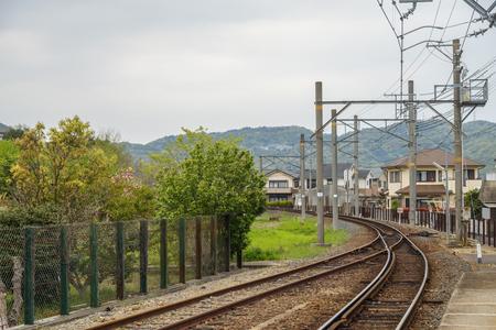 Curve railway track in Wakayama Japan Imagens - 100388055