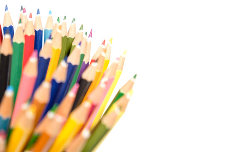 Sharp color pencil close up on white background copy space back focus front blur