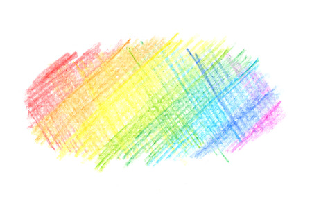 Meesy rainbow color pencil drawing line on white background Stockfoto