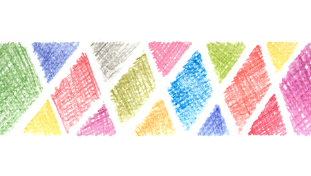 Messy color pencil drawing scribble line in triangle shape background white 版權商用圖片