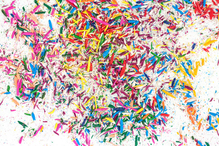 Color pencil shavings on white background textured 版權商用圖片