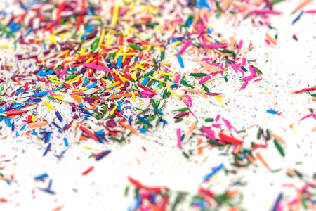 Blur color pencil shavings on white background textured