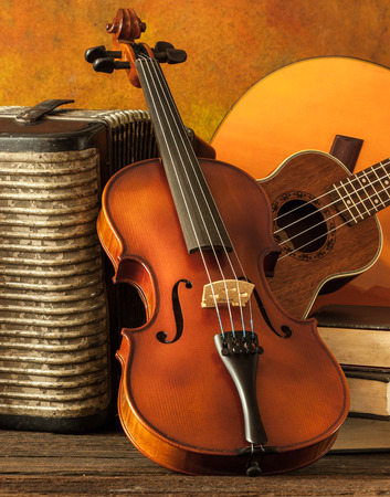 acoustic ukulele: Acoustic musical instruments guitar ukulele violin and accordion with vintage book lay on fine painted floor and backdrop for wall web interior decoration still life style