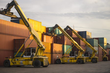 Cargo containers in shipping yard for transportation, import,export, logistic industrial. Stock Photo