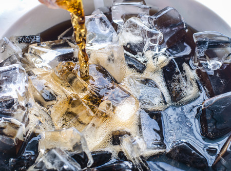 Close-up cola with ice cubes.