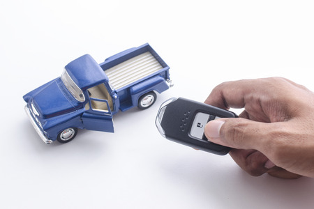 New car key and vehicle model, new car concept Stock Photo
