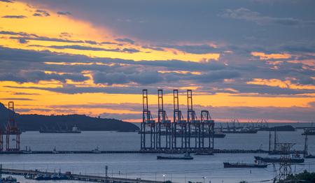 Industrial Port in sunset sunrise Stock Photo