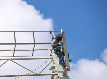 echnician welding steel structure Stock Photo