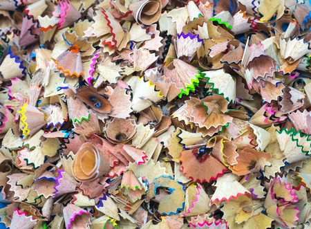 Wooden colored pencil sharpening shavings pile Stock Photo