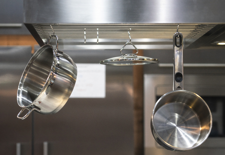 Stainless Steel Kitchenware hang on steel bar