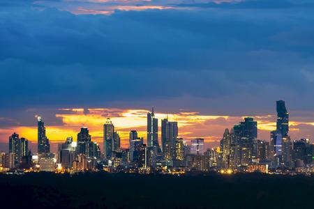 Bangkok cityscape. Bangkok night view in the business  Stock Photo