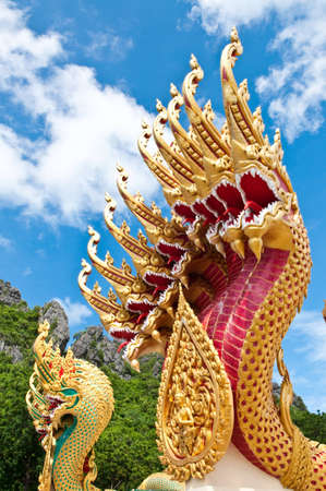 statue king of nagas in front of buddhism temple, Chiangmai Province, Thailand Stock Photo - 10558287