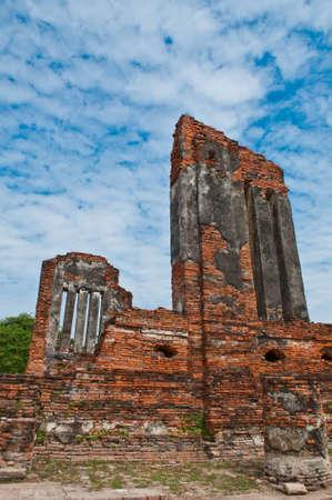 Wall of ruins temple at Ayutthaya Historical Park, THailand.