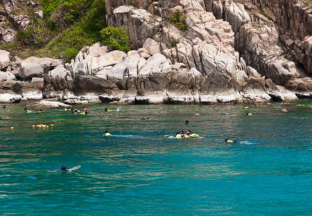 skin diving: Skin diving in southern Thai sea.