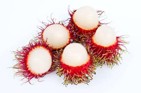 Rambutan fruit isolated on white background. photo