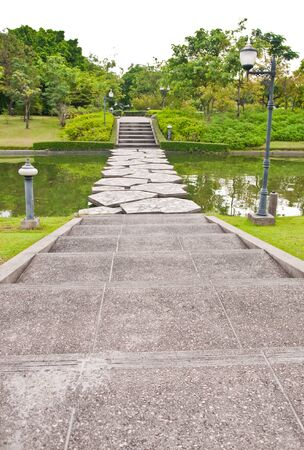 Pathway in tropical garden of Thailand. Stock Photo
