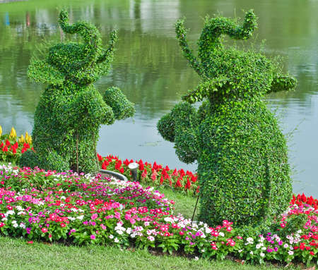 Ivy in the shape of elephants in garden of thailand
