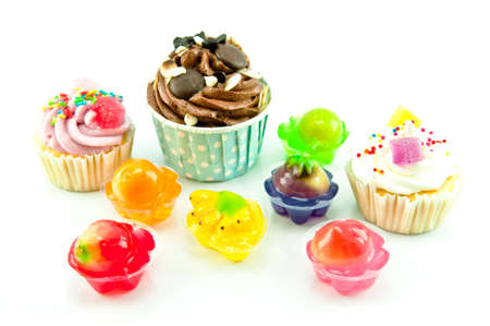 Colorful Cup Cake and jelly isolated on white background