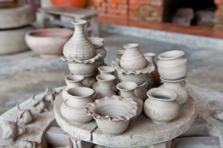 Handmade pottery factory in Thailand. photo