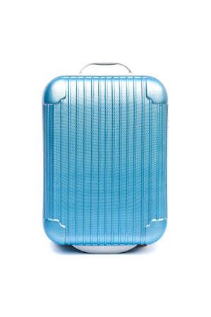 travel bag: blue plastic suitcase on wheels isolated on white Stock Photo