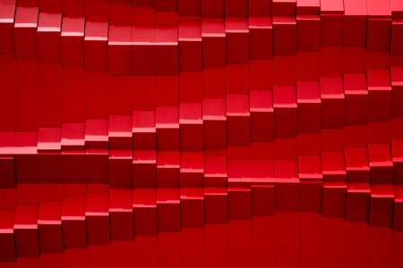 Sunlight and shadow on abstract and geometric stripes pattern of modern red wall background
