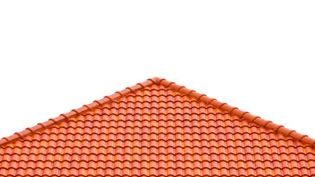Slope angle view of orange tiles roof on isolated white background