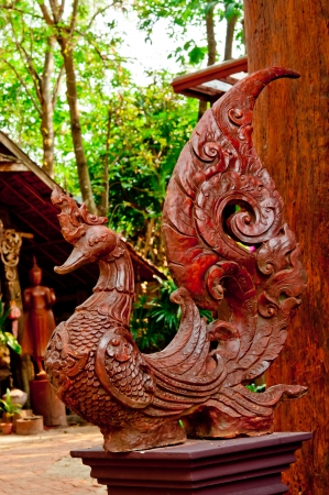 old Wood carving  thailand style photo