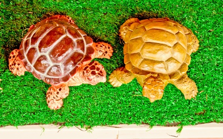 Two turtle clay doll on green photo