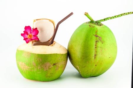 신선한 코코넛 음료. 스톡 콘텐츠