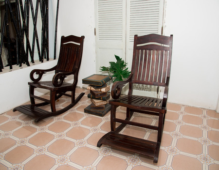 Rocking chair Made of wood In the area of the house photo