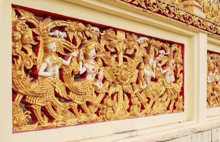 Thai sculpture on the temple wall,Thailand