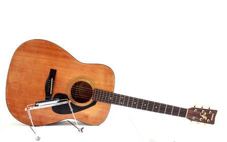 wood staves: Acoustic guitar wallpaper isolated on white background for poster design