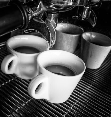 coffee maker: coffee machine makes two coffee Stock Photo