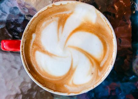 cappuccio: frangipani flower on the Cup of art latt Stock Photo