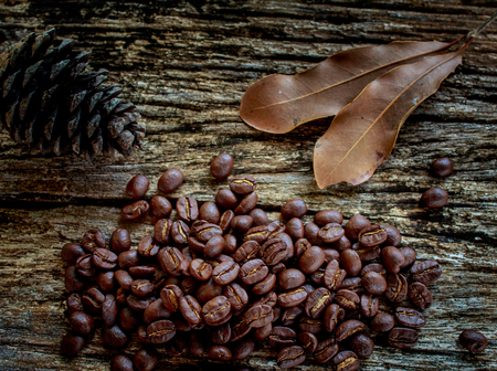 coffee beans on old wooden