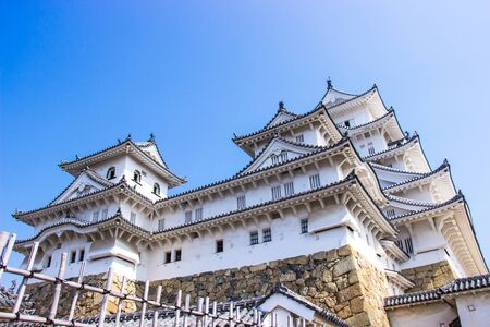 HIMEJI, JAPAN - MARCH 11, 2018: Himeji castle during sakura blossom time are going to bloom in Hyogo prefecture, Japan Editorial