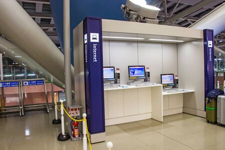 OSAKA, JAPAN - MARCH 14, 2018: Point free internet service inside the Kansai International Airport (KIX) is one of Japan most important commercial airports. Editorial